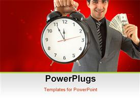 Businessman with clock and US dollars on white shallow dof template for powerpoint