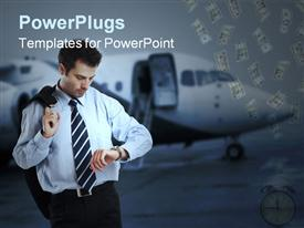 PowerPoint template displaying businessman checking wristwatch beside airplane with dollar bills dropping