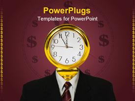 PowerPoint template displaying corporately dressed man with a golden clock for a head