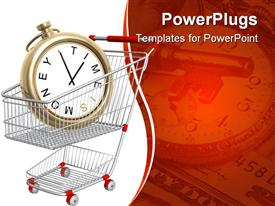 PowerPoint template displaying time is money metaphor with clock in shopping cart, key, clock and 20 dollar bill in red background