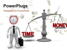PowerPoint template displaying 3D man with clock head and weighing scale of TIME against MONEY