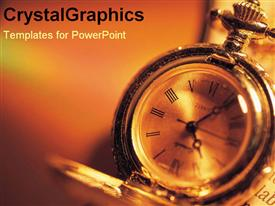 PowerPoint template displaying a close up view of a clock with a blurry background