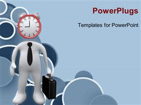 PowerPoint template displaying a clock with a figure and a bluish background
