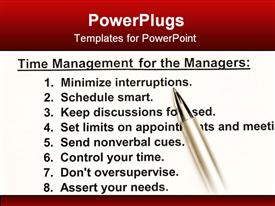 PowerPoint template displaying a time management scheduler with a number of tips
