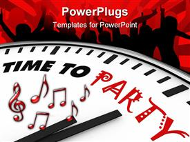 PowerPoint template displaying white clock with words Time to Party on its face in the background.