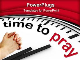 PowerPoint template displaying a clock mentioning the prayer timing with red background