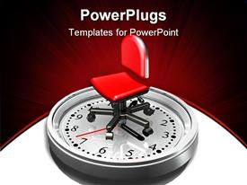 Large red office chair sitting on the face of a metallic white clock powerpoint theme