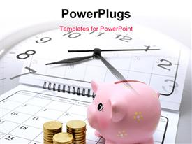 PowerPoint template displaying a clock with a pink piggy bank and some gold coins