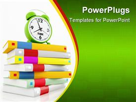Conceptual-green alarm clock at 8 over a stack of book powerpoint design layout