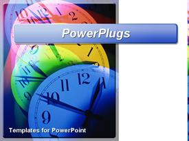 PowerPoint template displaying colorful multicolored clocks showing the pass of time with white background