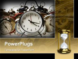 PowerPoint template displaying alarm clocks in the background.