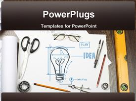 PowerPoint template displaying tools and papers on the table with industrial symbols