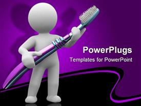 PowerPoint template displaying human carrying big brush and purple background