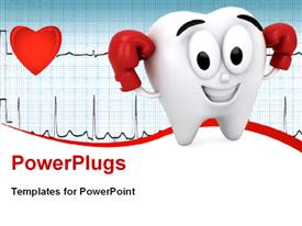 PowerPoint template displaying tooth showing its strength placed on a medical background