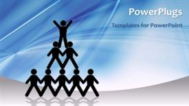 PowerPoint template displaying video of people forming a human pyramid representing concept of leadership on first slide and non-video background on next slides