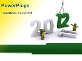 PowerPoint template displaying the representation of the year 2012 with yellowish and white background