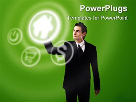PowerPoint template displaying e commerce metaphor with business man reaching for home button, online shopping