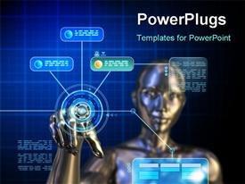 PowerPoint template displaying female android using a futuristic interface. Digital depiction in the background.