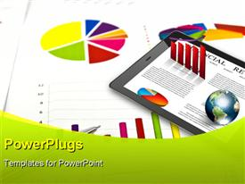 PowerPoint template displaying a tab with financial stuff and a pie chart in the background