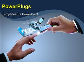 PowerPoint template displaying two Hands with laptop, phone, tablet and globe , connectors with the technology
