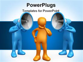 PowerPoint template displaying yellow figure contemplating two blue figures with loudspeakers
