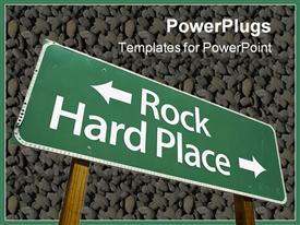 PowerPoint template displaying rock Hard Place road sign
