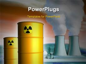 PowerPoint template displaying radioactive waste from a nuclear power plant