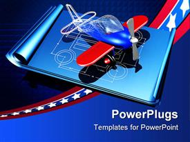 Red and blue plastic toy airplane showing a partial wireframe powerpoint template