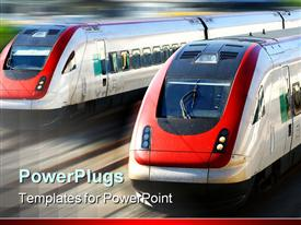 PowerPoint template displaying two modern speeding trains on blurred background depicting speed