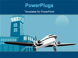 PowerPoint template displaying art on air travel and transport industry