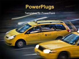 PowerPoint template displaying blurred NYC taxi cab during the rush hour in motion in the background.