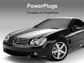 PowerPoint template displaying realistic render three-dimensional model of the black Mercedes SL 500 in the background.
