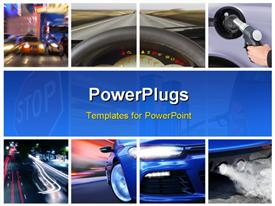 PowerPoint template displaying collage of car interior details and transport attributes in the background.