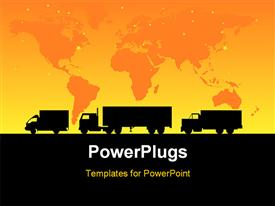 PowerPoint template displaying cargo trucks - depictions can be scaled to any size in the background.