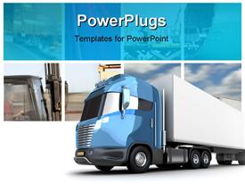PowerPoint template displaying transport collage with modern truck cargo container
