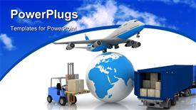 Airliner with a globe and auto loader with boxes powerpoint theme