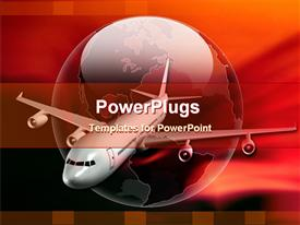 Airliner on a glossy globe powerpoint design layout