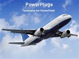 PowerPoint template displaying airplane fly the sky