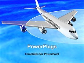 PowerPoint template displaying airplane flying in sky in the background.