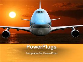 Airplane Over The Ocean, Sunset powerpoint template