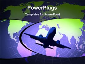 PowerPoint template displaying depiction of airplane and world in the background.
