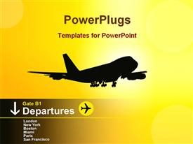 PowerPoint template displaying airplanes departures in the background.