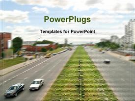 PowerPoint template displaying auto road transport motor transportation urban peak in the background.