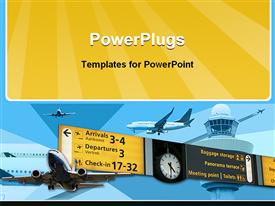 PowerPoint template displaying background with planes going in all directions and a sign with travel information