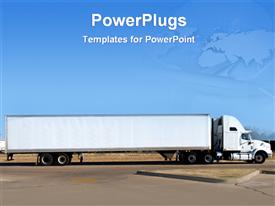 PowerPoint template displaying big truck on the road in the background.