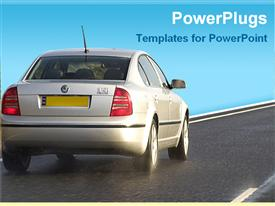 PowerPoint template displaying car on road in the background.