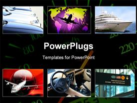 PowerPoint template displaying collage of transportation theme in the background.