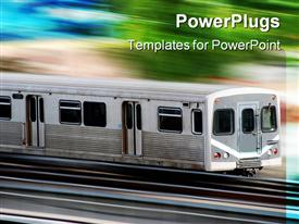 PowerPoint template displaying commuter city train with motion blur of the background