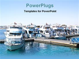 PowerPoint template displaying luxury boats docked on water, boating, recreation, wealth