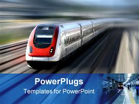 Fast train with motion blur along its tracks template for powerpoint